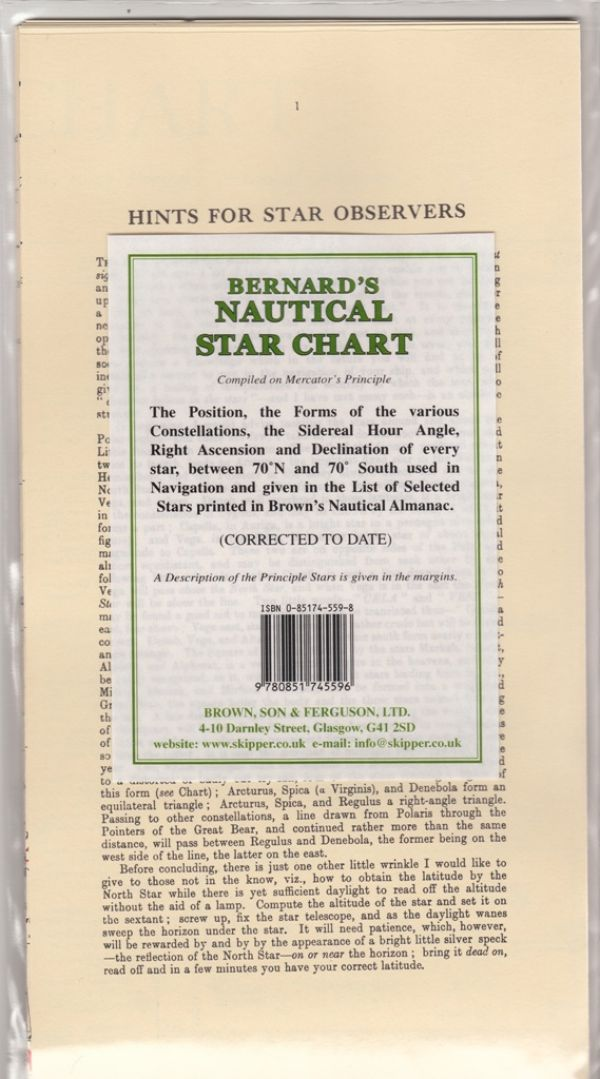 Bernards Nautical Star Chart  Brown Son And Ferguson Ltd