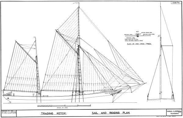 West Country Trading Ketch - Sail and Rigging Plan | Brown